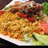 filet mignon on rice